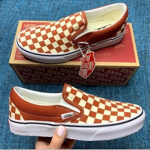 NWT Vans Slip On Checkerboard Sneakers Picante
